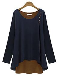 Quior Women's Color Block Multi-color T-Shirts , Casual Bateau Long Sleeve