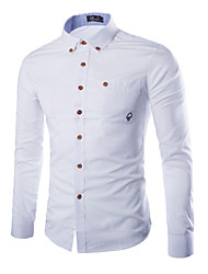 Men's Solid Casual Shirt,Cotton / Polyester Long Sleeve Blue / Pink / White