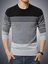 Men's Casual/Daily Plus Size Simple Regular Pullover,Color Block Round Neck Long Sleeves Cotton Polyester Fall Winter Medium Stretchy
