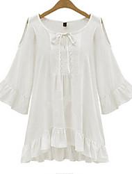 Damen Solide Einfach Lässig/Alltäglich T-shirt,Rundhalsausschnitt Herbst Langarm Weiß / Schwarz Baumwolle Mittel