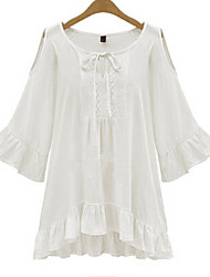 Women's Ruffle Solid White/Black T-shirt,Round Neck Long SleevePlus size