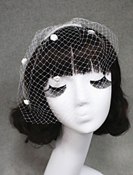 Handmade Wedding Veil One-tier Blusher Veils/Veils for Short Hair/Birdcage Veils Cut Edge