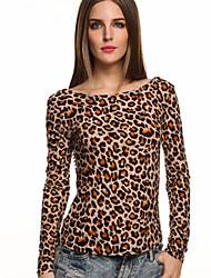 Damen Leopard Einfach Lässig/Alltäglich T-shirt,Rundhalsausschnitt Herbst Langarm Schwarz / Grau / Gelb Baumwolle Dünn
