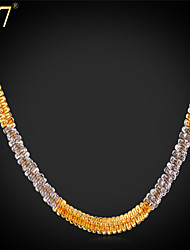 U7® Men's Fancy Two-Tone Gold Necklace from Italy Platinum/Gold Plated Double Plated 22'' Chain Necklace