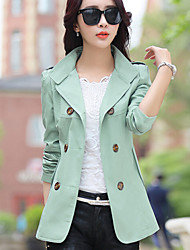 Women's OL Elegant Stand Double Breasted Long Sleeve Slim Trench Coat