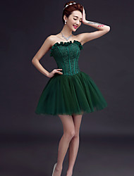 Short/Mini Tulle Bridesmaid Dress - Ruby / Burgundy / Dark Green / White / Champagne / Black A-line Sweetheart