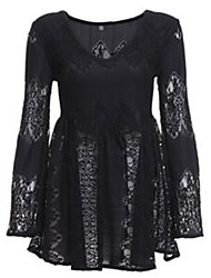 Women's Sexy Lace Swing Dress , Deep V Above Knee Polyester