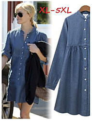 Women's Solid Blue Dresses , Casual Stand Long Sleeve