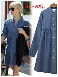 Robes ( Denim ) Informel Support à Manches longues pour Femme