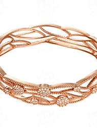 Hollow micro gold inlaid CZ elegant lady Bracelet