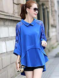 Women's Plus Size Solid Blue / Black / Green Blouse , Swallow-Tail Shirt Collar ¾ Sleeve