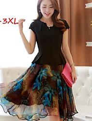Women's Print Black Plus Size Dresses , Print/Work V-Neck Short Sleeve