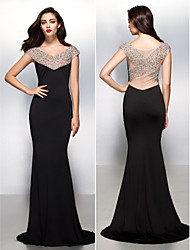 TS Couture® Formal Evening Dress - Black Trumpet/Mermaid V-neck Sweep/Brush Train Jersey