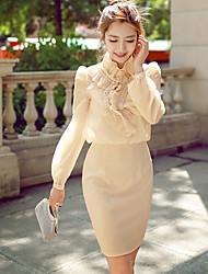Robes ( Polyester ) Vintage / Soirée / Travail Support à Manches longues pour Femme