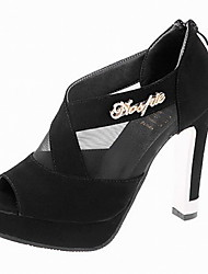 Fashion Women's Shoes Tulle/Leatherette Chunky Heel Wedges/Heels/Peep Toe Sandals Office & Career/Dress/Casual