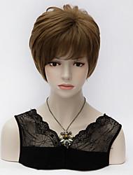 Unqiue Short Layered Short Straight Synthetic Hair Flaxen Full Bang Harajuku Lolita Synthetic Purecas Wig