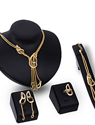 Jewelry Set Rhinestone Alloy Statement Jewelry Gold Wedding Party 1set 1 Pair of Earrings 1 Bracelet Necklaces Rings Wedding Gifts