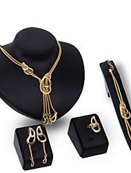 Women Wedding Party Nightclub Punk Fringed Gold Chain Necklace Sweater Chain Earrings Ring Bracelet Set