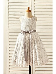 A-line Tea-length Flower Girl Dress - Lace / Satin Sleeveless