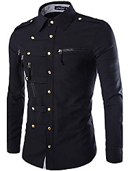 Men's Solid Casual / Work / Formal / Sport Shirt,Cotton Long Sleeve Black / Blue / Green / Red