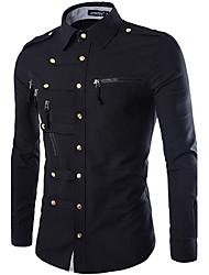 Men's Long Sleeve Shirt , Cotton Casual / Work / Formal / Sport Pure