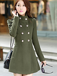 Women's Solid Color Blue / Pink / Red / Green Coats & Jackets , Casual Stand Long Sleeve