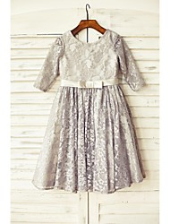 A-line Knee-length Flower Girl Dress - Lace 3/4 Length Sleeve Scoop with