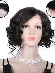 premierwigs courts pleine dentelle perruques de cheveux humains perruques dentelle de base de soie avant 8''brazilian vierges bouclés pour