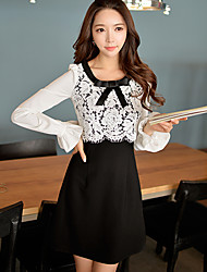 Pink Doll®Women's Casual Party OL Bow Color Block Patchwork Puff Sleeve Slim Dress