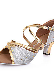 Latin Women's Dance Shoes Sandals Paillette Cuban Heel Gold/Silver