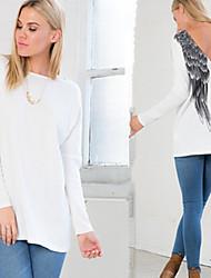 YKK Women's Print White Tops & Blouses , Casual Round Long Sleeve