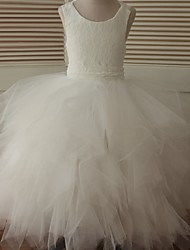 Ball Gown Ankle-length Flower Girl Dress - Lace / Tulle Sleeveless Scoop with Cascading Ruffles