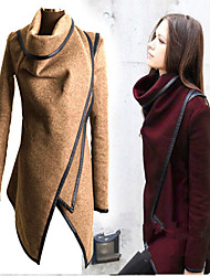 Women's Solid Blue / Red / Green / Yellow / Gray Coats & Jackets , Casual High-Neck Long Sleeve