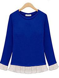 Damen Patchwork Street Schick Lässig/Alltäglich T-shirt,Rundhalsausschnitt Herbst Langarm Blau / Rot / Schwarz / Gelb Andere