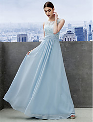 TS Couture Prom Formal Evening Dress - See Through A-line Scoop Floor-length Chiffon Lace with Lace