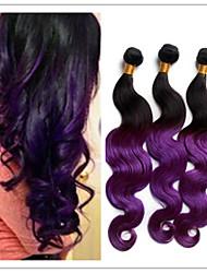 3pcs / lot ombre brésilienne de cheveux à deux tons # 1b pourpre vague de corps tisser extension de tissu ombre d'extension de cheveux