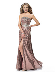 Formal Evening Dress - Candy Pink A-line Strapless Floor-length Sequined