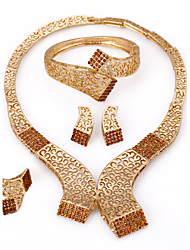 WesternRain 2014 Brown Rhinestone Charm Necklace Earrings Women Beauty Gold Plated African Jewelry Sets
