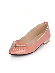 Women's Shoes Patent Leather Low Heel Pointed Toe Flats Casual Black/Pink/Beige