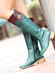 Chaussures Femme - Extérieure / Bureau & Travail / Décontracté - Noir / Vert / Rouge - Talon Plat - Rangers / Bout Arrondi - Bottes -