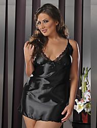Women Plus Size Lingerie Robes Large Size Sleepwear Lace/Satin Robes/Satin & Silk Nightwear