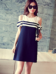 Round Neck Maternity Dress , Chiffon Above Knee Short Sleeve