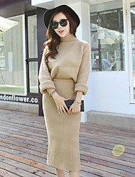 Women's Solid Pink/Green/Beige Set , Casual Round Neck/Turtleneck Long Sleeve Split