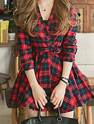 Women's Check Red Dress , Casual V Neck Long Sleeve