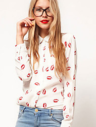 Women's Print White Shirt , Shirt Collar Long Sleeve