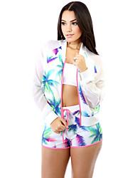Women Sportswear Two Pieces Leave Print Long Sleeves Zipper Top Drawstring Waist Shorts Sport Suit Twin Set