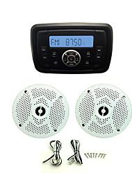 Waterproof Marine Radio Stereo ATV UTV Audio Receiver+1 Pair 4 Inch Waterproof Speakers