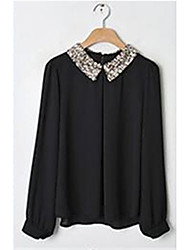 Women's Solid White / Black / Beige Blouse , Peter Pan Collar Long Sleeve