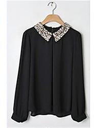 Women's Solid White / Black / Beige Blouse , Peter Pan Collar Long Sleeve