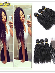 4 Pcs/Lot Brazilian Human Hair Weave Virgin Hair Bundle With Closure Afro Curl Hair Weave Brazilian Hair Bundles